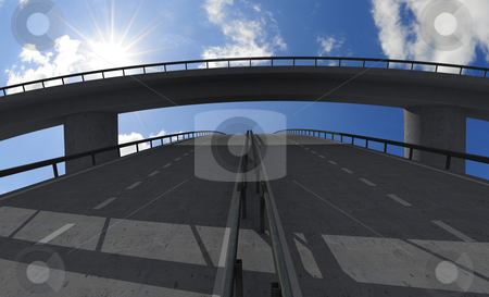 Empty bridge stock photo, Empty bridge with sunny sky by Magnus Johansson