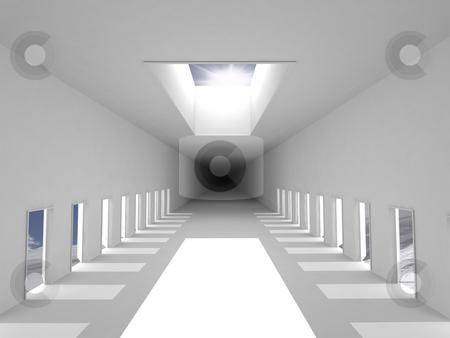 White corridor stock photo, White corridor in the sky by Magnus Johansson
