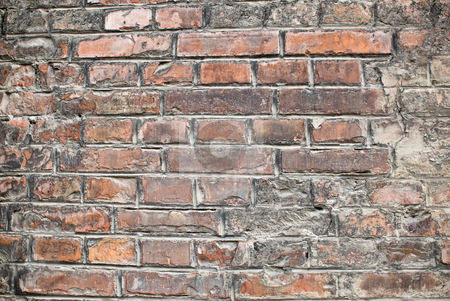 Old brickwall stock photo, A close-up of an old aged red brickwall by Alexander L?