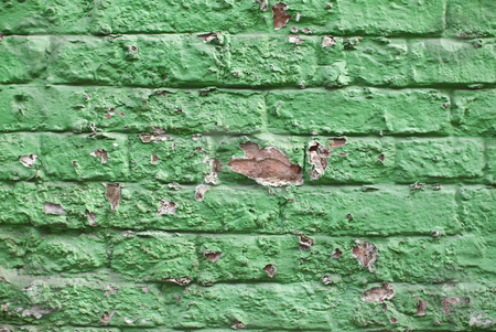 Green wall stock photo, A close-up of an old aged green colored brickwall by Alexander L?