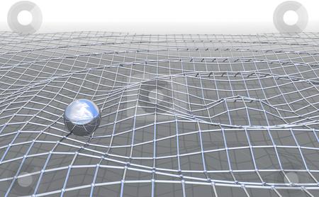 Mesh_ripple stock photo, Ironmesh ripple with shiny metal ball by Magnus Johansson