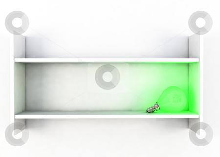 Dreamy light stock photo, Green lightbulb on white shelf in high key dreamy compositin by Magnus Johansson