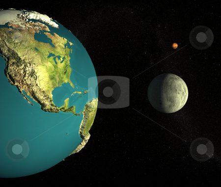 Home stock photo, Mother Earth, the Moon and Mars in the background. 3d rendered with Nasa-maps by Magnus Johansson