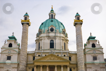 Viennas karlskirche stock photo, The viennese st. charles church is located at the karlsplatz in the first district of vienna near the ringstrasse. the architecture style is baroque. by Alexander L?