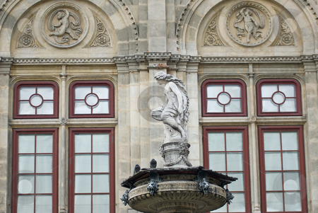 Sculptures in front of the vienna state opera stock photo, The vienna state opera was built between 1861 and 1869 in the neo-renaissance style. the architects were august sicard von sicardsburg and eduard van der n?ll. it was the first opera built in vienna. by Alexander L?