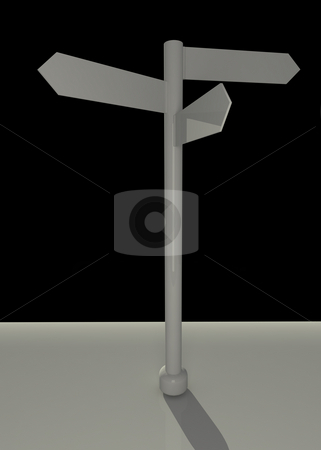 Tripple sign stock photo, Tripple direction signagainst black background by Magnus Johansson