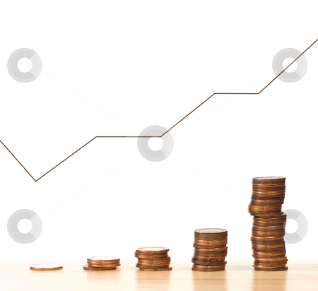 Money Graph stock photo, A graph that is continually climbing showing the profits of a company, isolated against a white background by Richard Nelson