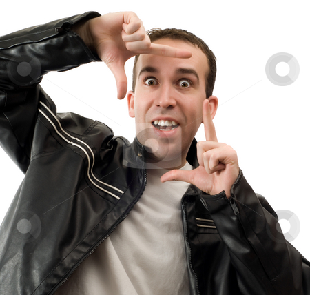 Man Framing Face stock photo, A young man framing his face with his hands, isolated against a white background by Richard Nelson