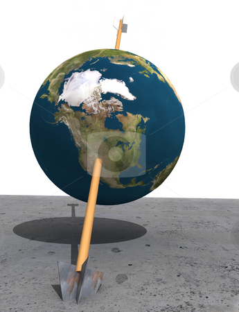 Earth hit stock photo, Planet Earth hit by an wodden arrow, stuck in concrete. 3d rendered with Nasa map by Magnus Johansson
