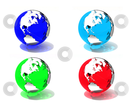 Translucent globes stock photo, Translucent illustration of Earth in 4 different colors. by Magnus Johansson