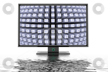 Flat tv display stock photo, Flat tv display on white background with futuristic image by Magnus Johansson