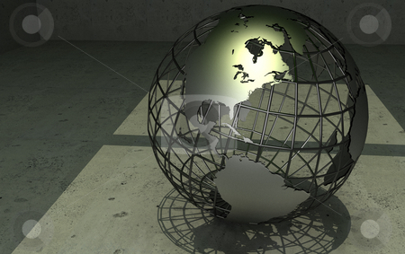 Wireframe globe stock photo, Wireframe globe in concrete room. 3d rendered with Nasa maps by Magnus Johansson