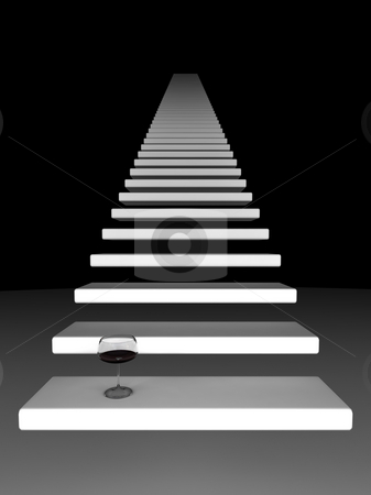The other side stock photo, White stairway into darkness by Magnus Johansson
