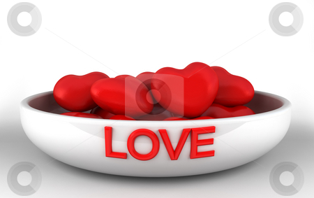 Bowl of love stock photo, Hearts in a bowl by Magnus Johansson