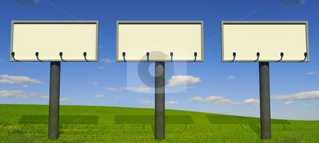 Three big billboards stock photo, Three big billboards with beautiful landscape background by Magnus Johansson