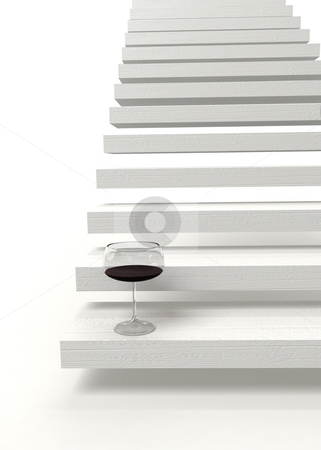 The other side stock photo, White stairway and a glass of red wine by Magnus Johansson