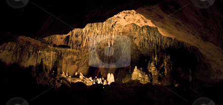 Florida Caverns Room stock photo, Panoramic view of a lit room inside the cave at Florida Caverns State Park by A Cotton Photo