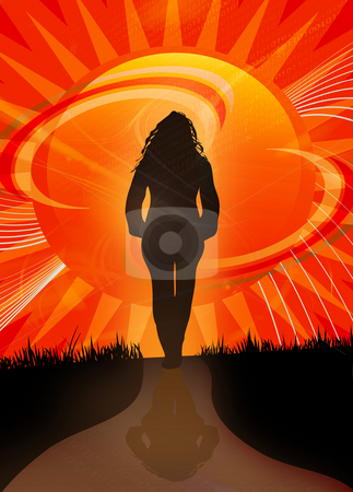 Sunset Path stock photo, A woman walking along a path towards the sunset. by Todd Arena