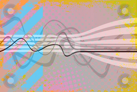 Funky Grunge Background stock photo, Abstract vintage looking layout with wavy lines and hazard stripes. by Todd Arena
