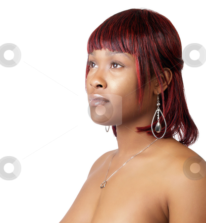 Young black woman in bare shoulder portrait stock photo, Young black woman topless show-nothing nude portrait by Jeff Cleveland