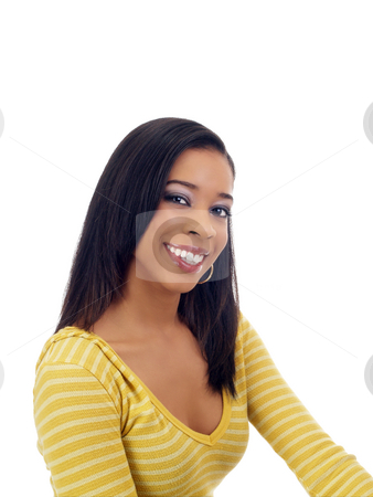 Young black woman smiling in yellow sweater stock photo, Young black woman portrait with big smile yellow top by Jeff Cleveland