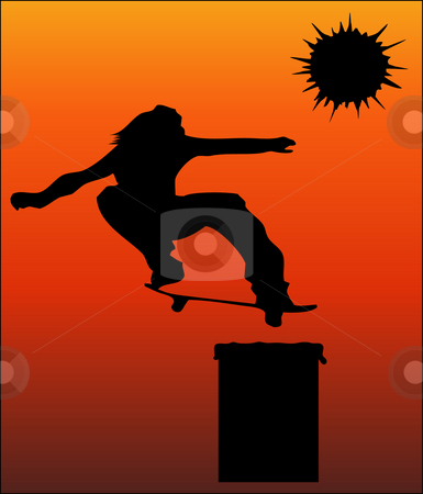 Trashcan jump stock photo, Illustration of skateboarder jumping over a trashcan by Magnus Johansson