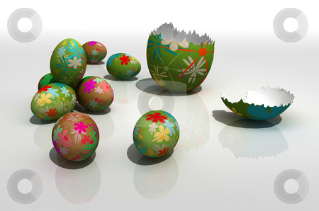 Easter eggs stock photo, Painted easter eggs on reflecting surface by Magnus Johansson