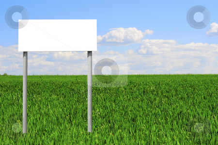 Outdoor sign stock photo, Information sign with nature background by Magnus Johansson