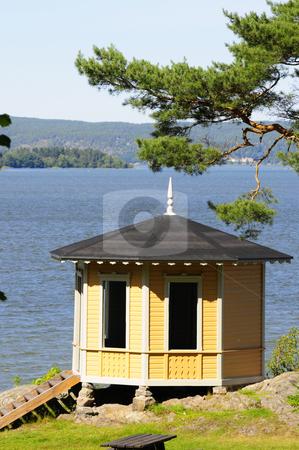 Swedish pavilion stock photo, Pavilion in Swedish archipelago by Magnus Johansson