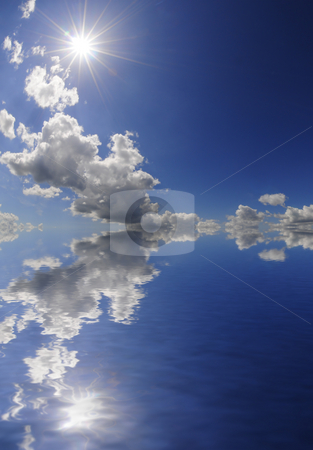 Sun reflection stock photo, Beautiful reflection of the sky and sun in the ocean by Magnus Johansson