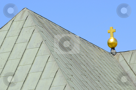Church_roof stock photo, Golden cross on top of sheet metal church roof by Magnus Johansson