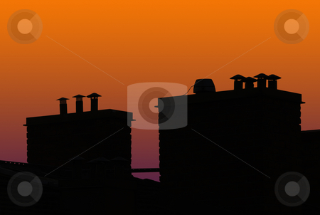 Sunset roof stock photo, Silhouette of roof top in sunset by Magnus Johansson