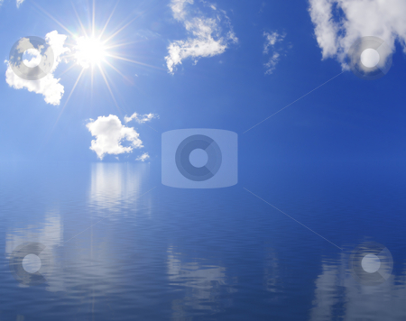 Sunny horizon stock photo, Calm ocean and beautiful sky by Magnus Johansson