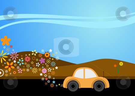 Environmentally friendly motoring stock vector clipart, Vector illustration of a carusing environmentally good fuel by Paul Turner