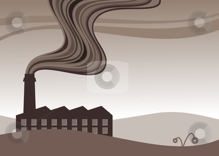 Factory pollution stock vector clipart, Vector illustration of a factory belching out pollution by Paul Turner
