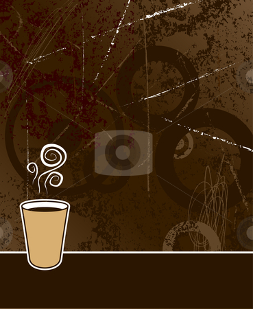 Coffee background stock vector clipart, Black coffee to go on coffee colored grunge background by Paul Turner