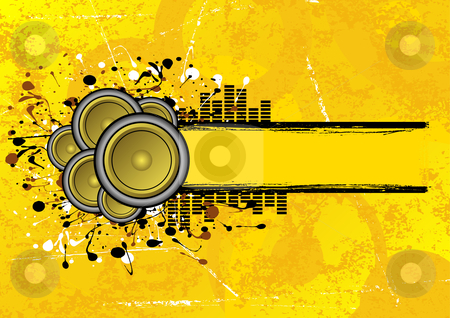 Grunge speaker banner stock vector clipart, Collection of speakers set on a grunge text banner by Paul Turner