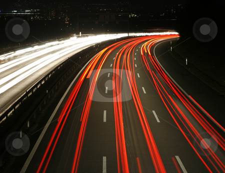 Highway at Night stock photo, Highway at night, Berne, Switzerland by mdphot