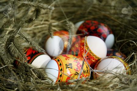 Peaster egg stock photo, Many Easter eggs lie in a nest by Aleksandr GAvrilov