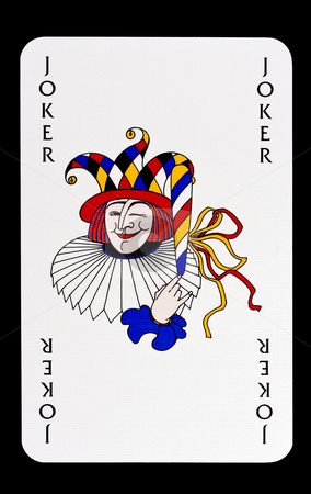 Joker stock photo, A Joker playingcard isolated on black background. by Ingvar Bjork