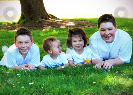 Brothers and Sister stock photo, Three brothers and their sister lying together in the grass on a sunny day by Orange Line Media