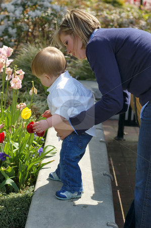 Looking at Flowers stock photo, Side shot of a mother standing behind her son helping him look at flowers in a planter. by Orange Line Media