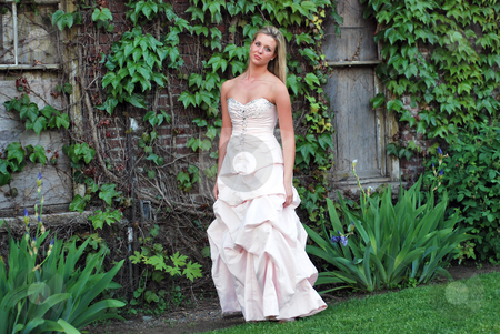 Cute Blond Woman - Horizontal stock photo, Attractive blond woman in a bridesmaid's dress standing on a lush green lawn by Orange Line Media