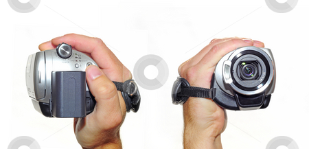Hand cam stock photo, Hand holding camcorder. Front and back view by Magnus Johansson