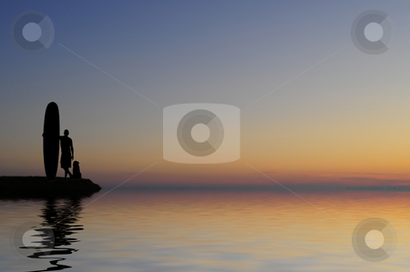 Sunset surfer stock photo, Surfer and his dog in beautiful sunset by Magnus Johansson