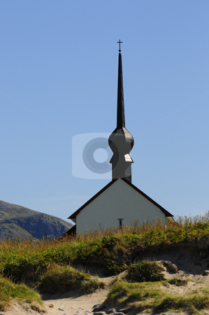 Norwegian church stock photo, Chyrch by the beach in Norway by Magnus Johansson