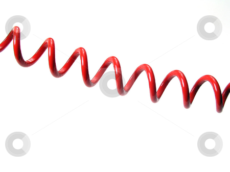 Spiral wire stock photo, Red spiral wire isolated on white by Ingvar Bjork