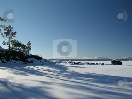 Fozen lake stock photo, Frozen lake in February by Ingvar Bjork