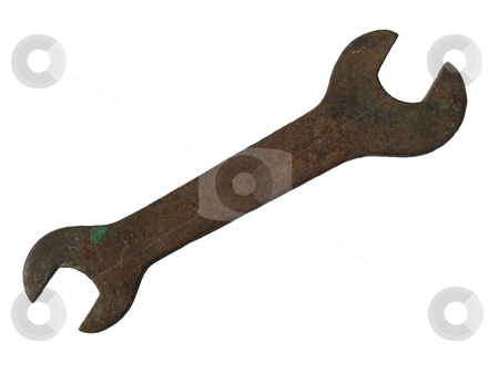 Wrench stock photo, Rusty spanner/wrench isolated on white background. by Ingvar Bjork