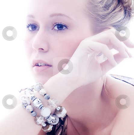 Bright cosmetic girl stock photo, Young  cosmetic woman with make up and jewels by Frenk and Danielle Kaufmann